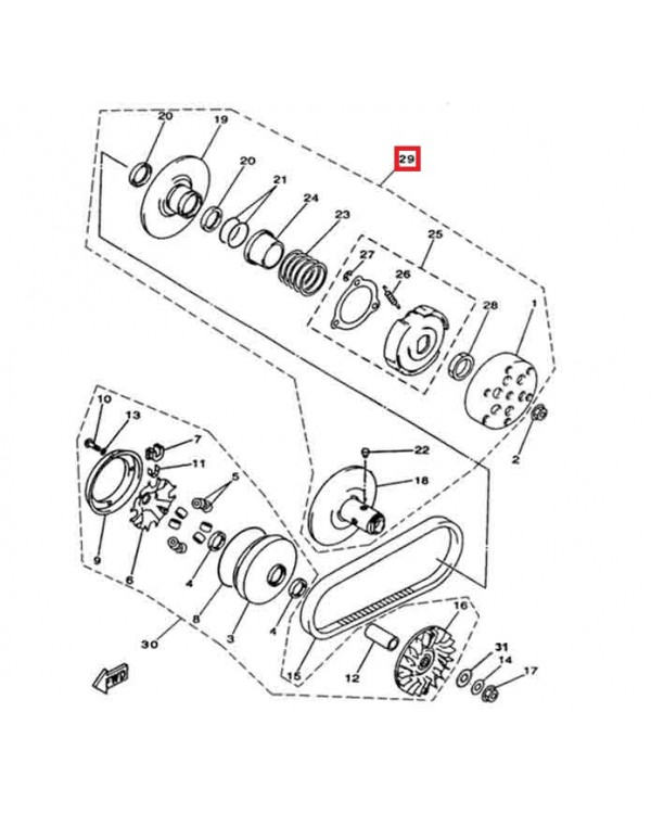 Original rear clutch Assembly for ATV Linhai 400 - 5 lobe