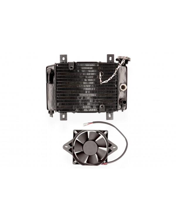 Radiator and fan for ATV Bashan 200, Kinroad 250
