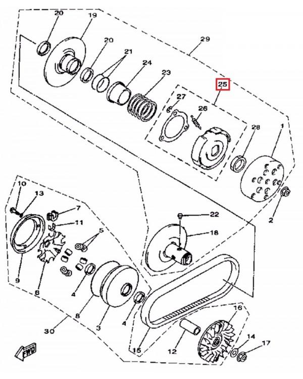 Original clutch variator for LINHAI ATV 400 - 161 mm