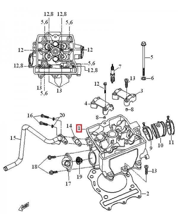 Original cylinder head for ATV LUCKY STAR ACCESS SP 450