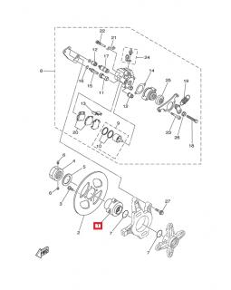 Original rear brake disc mounting hub for ATV YAMAHA YFZ450, YFZ450R