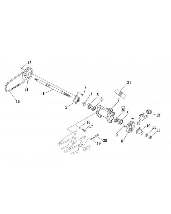 The original bearing of the eccentric rear axle for ATV LINHAI 150, 200, M200