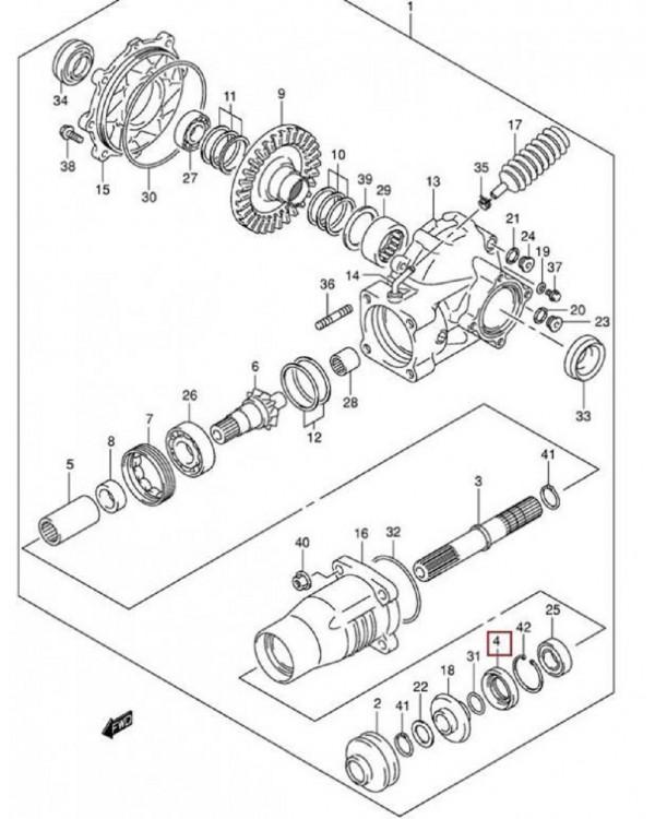 Original rear shaft seal ring (oil seal) for ATV SUZUKI LT-A 400, 500, LT-F 400
