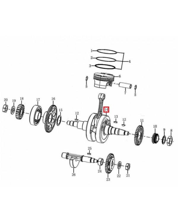 Original crankshaft for ATV Mikilon 250 with water cooling