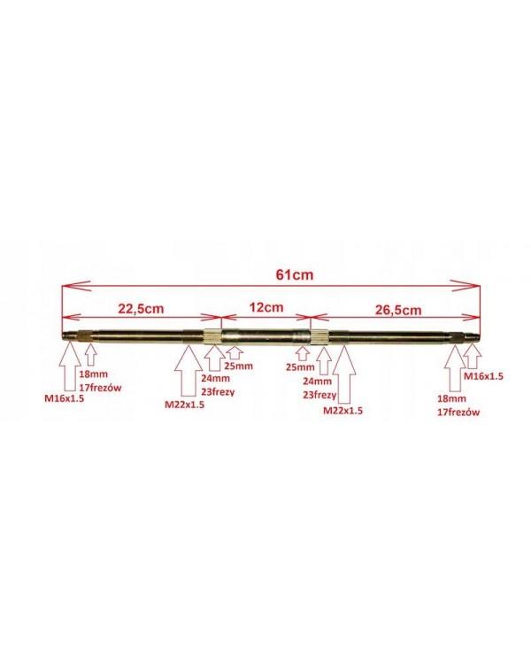 Rear axle for ATV brands ATV 110, 70, 90 - 61 cm