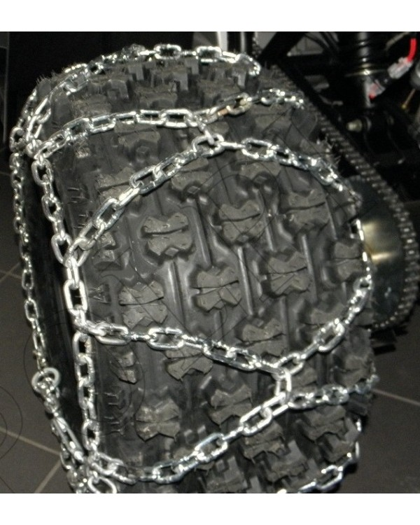 Snow chains on tyres of size 22x11-10