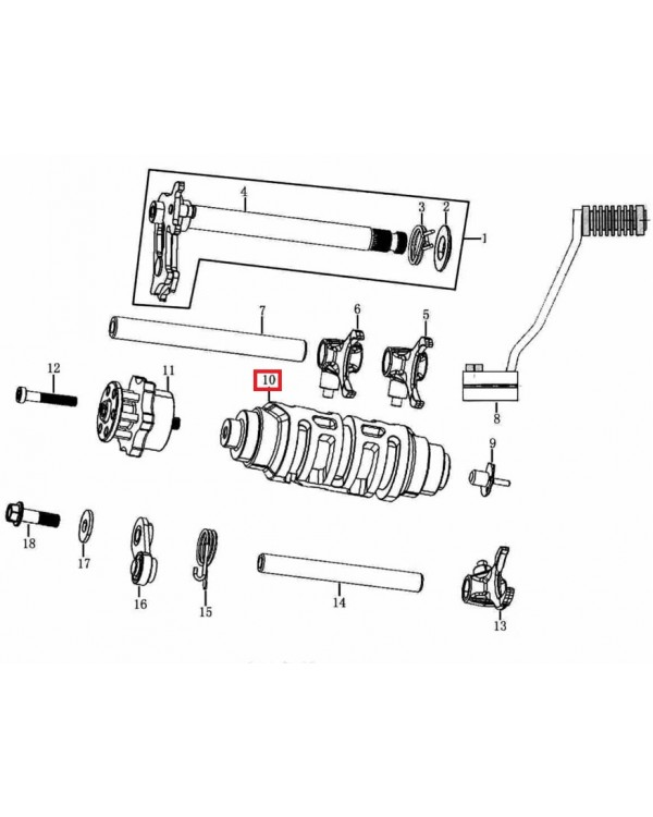 The original shaft of the gear selection for the transmission ATV Mikilon 250
