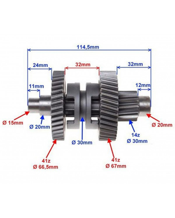 Original transmission intermediate shaft for ATV SHINERAY 150