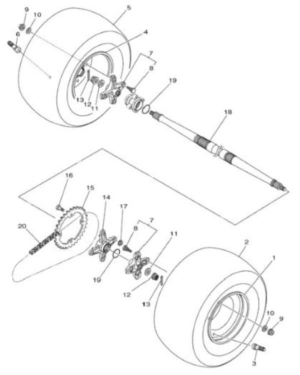 Wheel hub rear axle for ATV YAMAHA BANSHEE WARRIOR 350